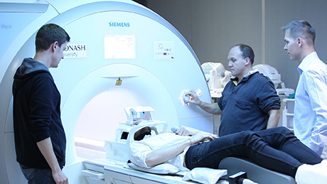 Getting a participant ready for an MRI scan