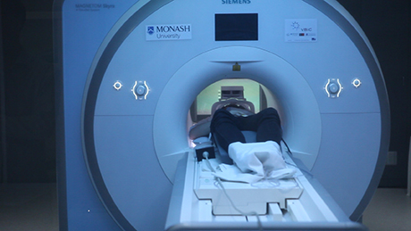 Participant in MR scanner for an fMRI experiment